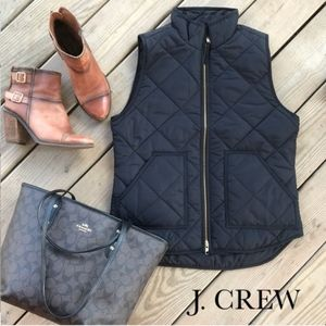 J. Crew Mercantile Black Quilted Puffer Vest Small